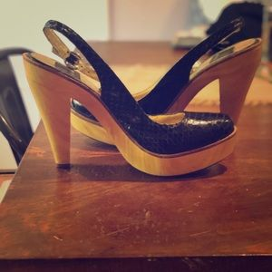 Dolce Vita Wooden snakeskin sling backs